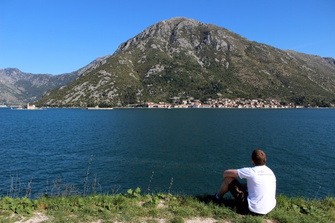 Looking out to the Bay of Kotor with Perast and its two islands in the distance