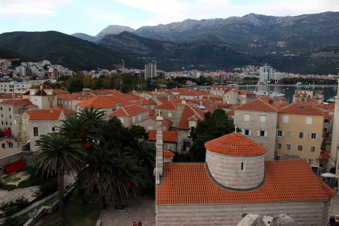 Looking out over the Old City in Budva