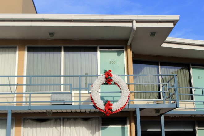 The wreath marks the spot where Martin Luther King Jr., was shot